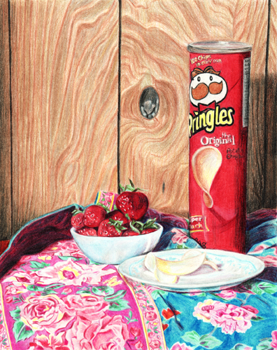 Laura Heaney - Pringles, coloured pencil on paper